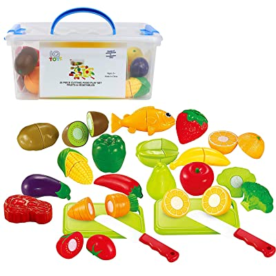 IQ Toys Play Food Set 35 Piece Cutting Fruits and Vegetables Playset with 2 Knives and Cutting Boards Accessories in Storage Container: Toys & Games