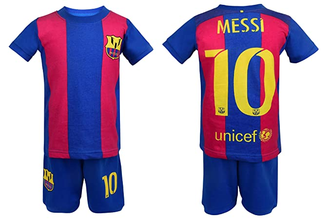 PJ de fútbol Barcelona Messi 10 Pajama ✓ Barcelona Messi # 10 Fútbol camiseta & pantalones cortos niños 100% algodón Sport juego de pijama pijamas pijama ...