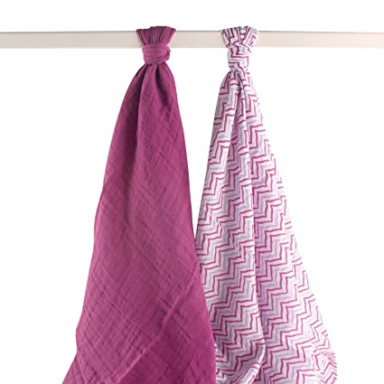 Yoga Sprout Muslin Swaddle Blankets, Purple Lotus, 46 Inch X 46 Inch, 2 Count