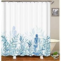 Colorpapapapapapapa- Cortina de ducha con hojas azules para decoración de baño, 182 x 182 cm