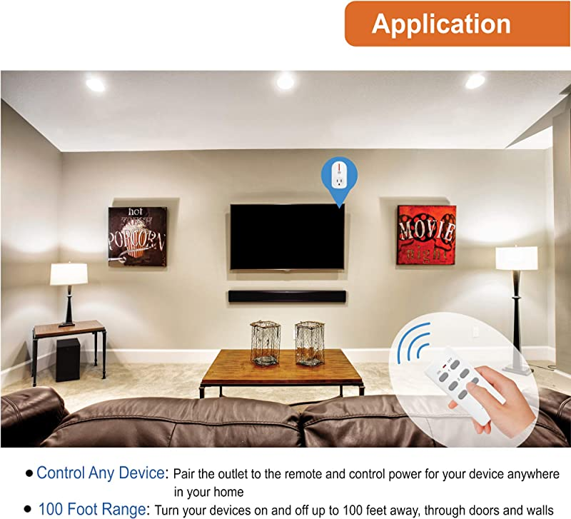 JTD 1 Pack Energy Saving Auto-programmable Wireless Remote Control Electrical Outlet Switch Outlet Plug Switch with remotes for Household Appliances Lamps
