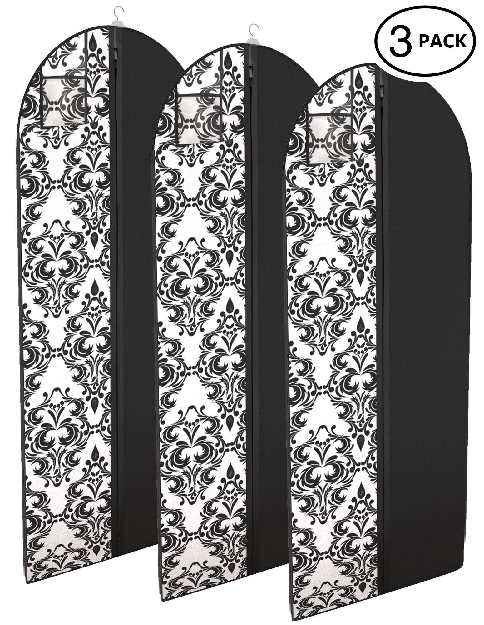 Your Bags Damask Dress and Gown Garment Travel Bags 3 Pack - 54'' x 24'' - Hanging Window
