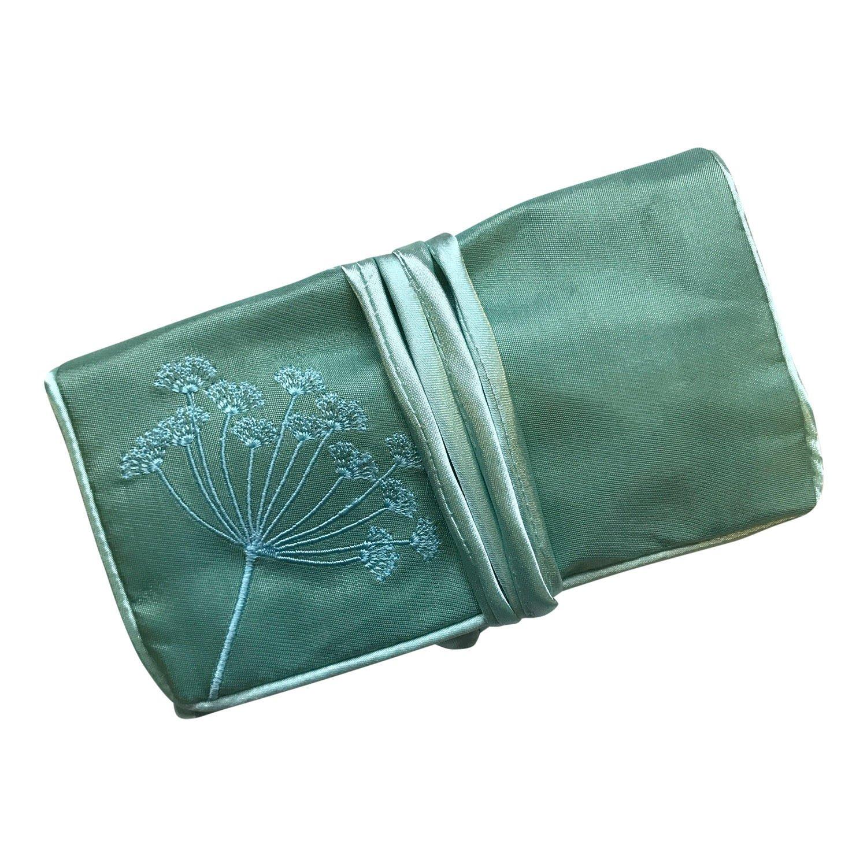 Ecoblue - Busta portagioie da viaggio in seta, con ricami, commercio equo e solidale, colore rosso rubino