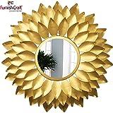 Furnish Craft Designer Sunflower Leaf Wall Mirror (27 x 27 inch, Golden)