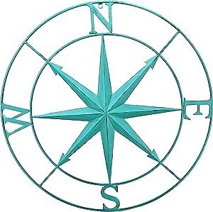 Bellaa 27154 Nautical Compass Star Metal Wall Decor Coastal Decorative Round Distressed Turquoise 30 inch