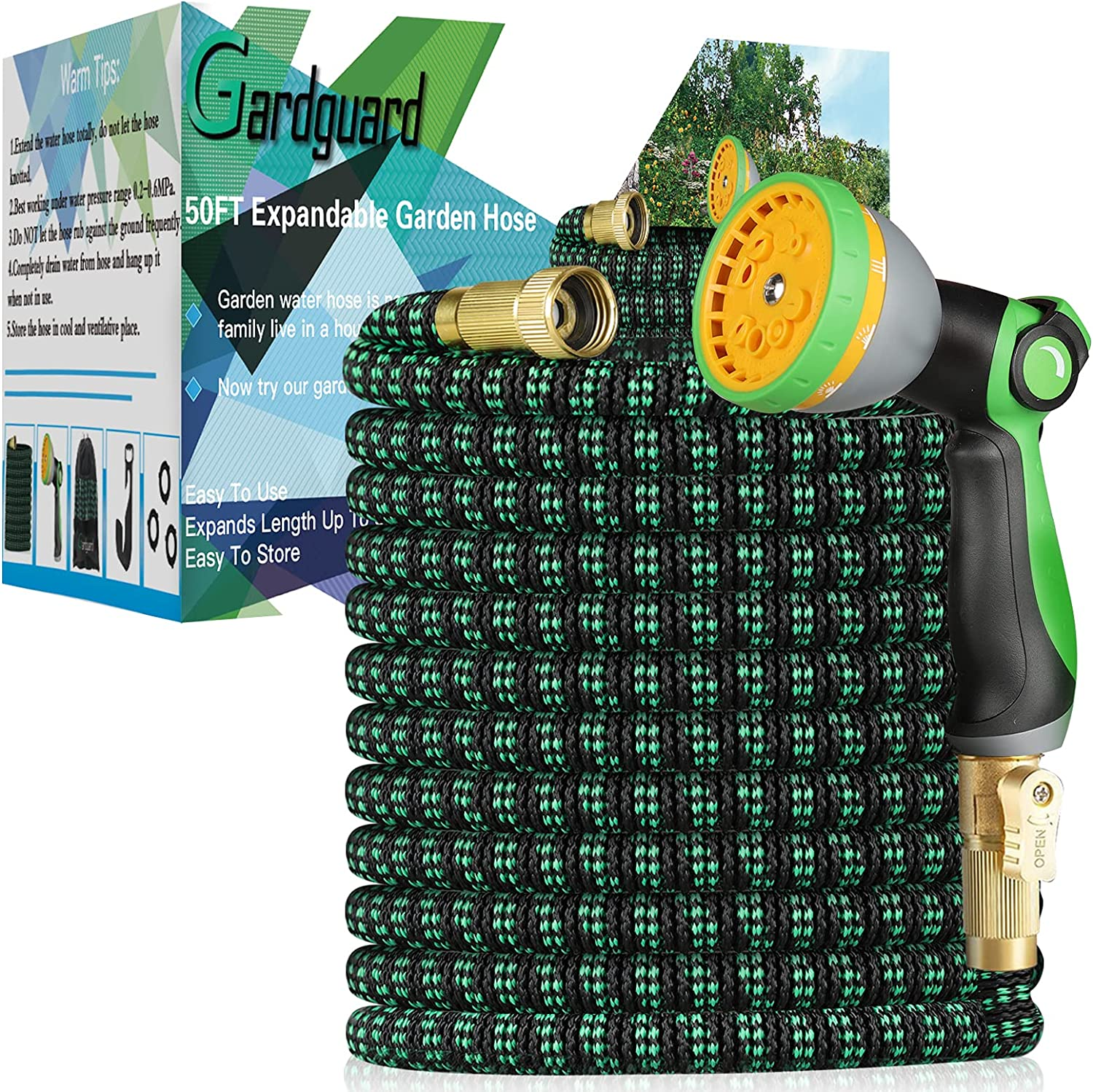 Gardguard Expandable Garden Hose 50FT Expanding Water Hose with 10 Function High Pressure Nozzle, Lightweight Water Garden Hoses 3-Layers Latex, Leakproof for Outdoor Watering and Washing and Cleaning