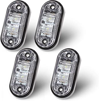 Justech 4x 2 Diodes Amber Side Marker Lights Side Fender Marker Assembly Waterproof LED Position Side Lamps 12V 24V For Trailer Van Caravan Truck Lorry Car Bus