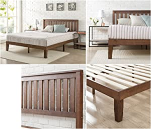 Zinus 12 Inch Solid Wood Platform Bed with Headboard / No Box Spring Needed / Wood Slat Support / Antique Espresso Finish, Full