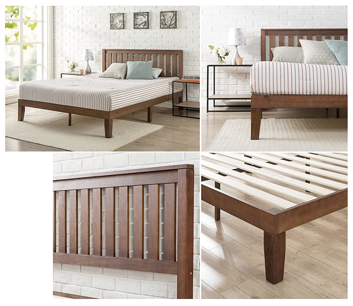 Zinus 12 Inch Wood Platform Bed with Headboard/No Box Spring Needed/Wood Slat Support/Antique Espresso Finish, Full
