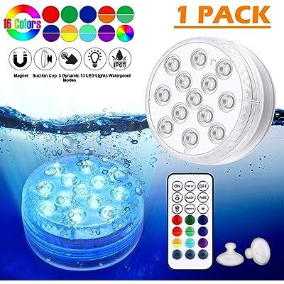 Piscina Luz LED Impermeables,Luces Sumergibles,Control Remoto Bajo El Agua Luces Multicolores LED Luz Sumergible para Acuario,Estanque,Bodas,Fiesta Jardín(1 PCS)