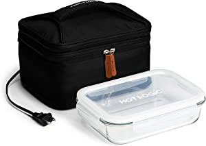 HotLogic 16801172-BLK Food Warming Tote Lunch Bag Plus 120V with Glass Dish, Black