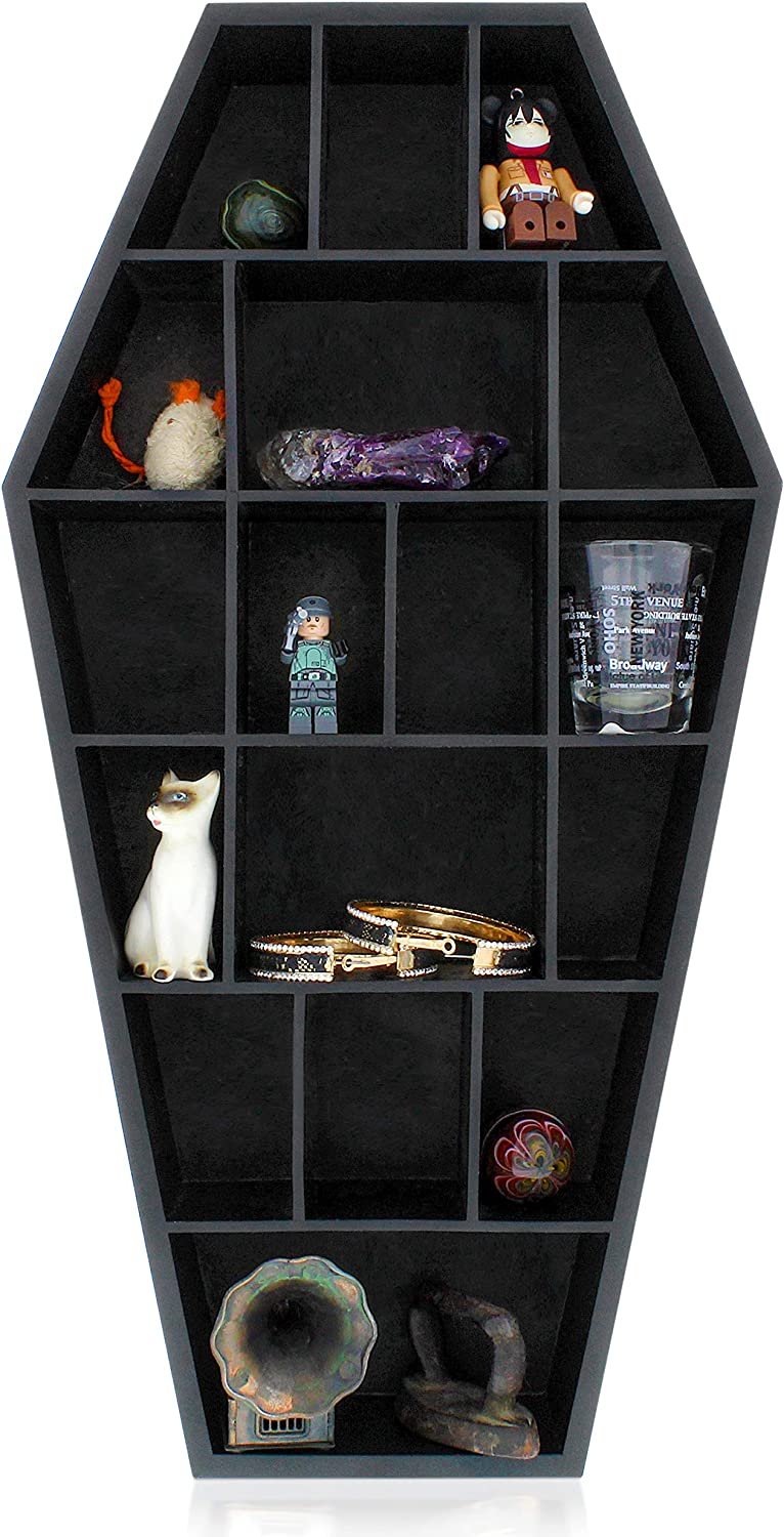 Gothic Curiosities Curio Coffin Shelf - Wooden Goth Decor for Display or Storage of Shot Glasses, Mini Figures, Rocks, and More - 18 by 9.5 by 2.5 Inches