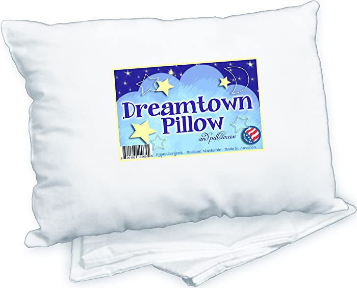 Dreamtown Kids Toddler Pillow With Pillowcase, White, 14x19  f