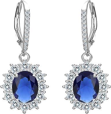 Women Elegant Rhinestone Round Lever Back Pierced Dangle Hoop Earrings DL0