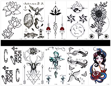 Amazoncom Ggsell Ggsell 10pcs Tattoo Peacock Temporary Tattoos In