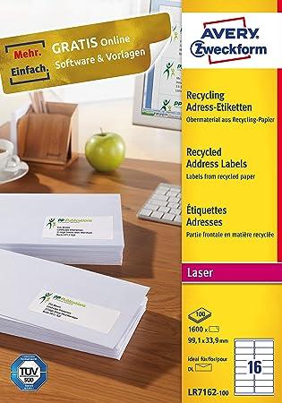 AVERY Zweckform LR7165-100 Recycling Etiketten 800 Versandetiketten, 99,1x67,7mm auf DIN A4, Papier matt, 100 Blatt bedruckbare, selbstklebende Klebeetiketten naturwei/ß