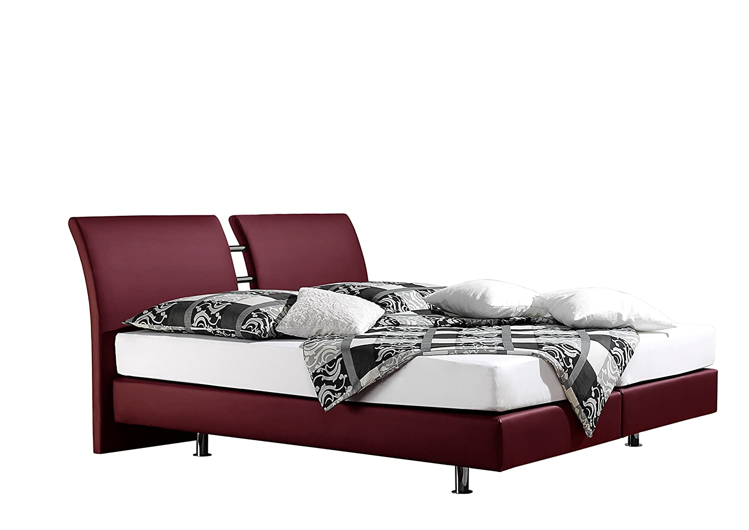 Maintal Betten 236809-4793 Boxspringbett Polo 160 x 200 cm, kunstleder bordeaux