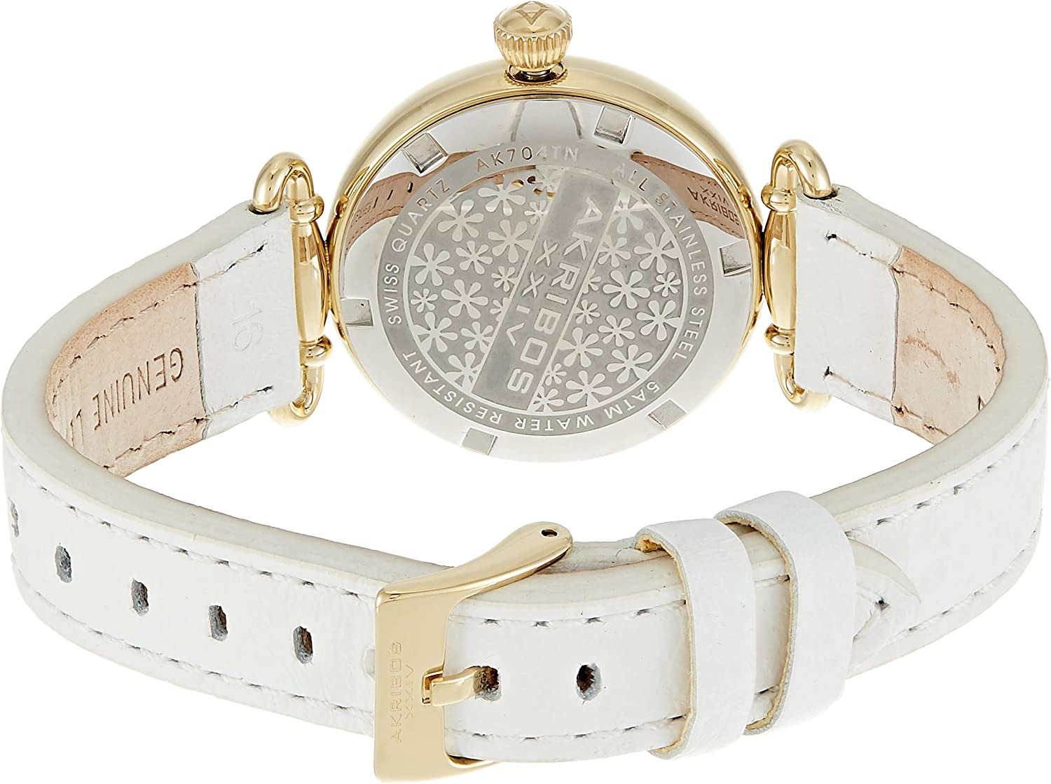 Akribos XXIV Women's 'Impeccable' Swiss Quartz Watch - Clear Arabic Numerals Hour Markers with Second Subdial On Genuine Leather Strap - AK704 White