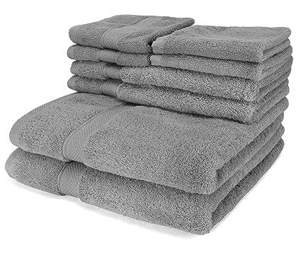 Lusso 6 Pezzo asciugamano Set Grigio - 2 asciugamani da bagno, 2 ...