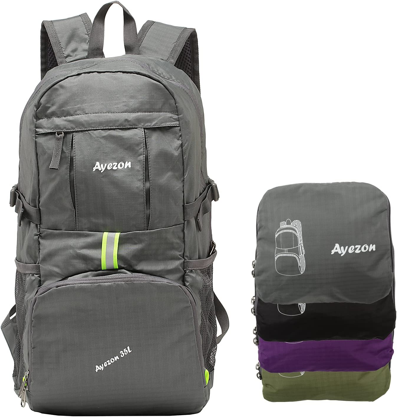 Ayezon Hiking Backpack for Travel, Beach and Outdoor, Sports Packable Backpack, Ultralight Compact Foldable Daypack 35L
