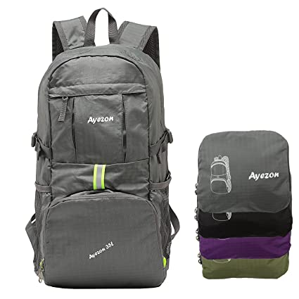 Ayezon Unisex Portable Grey Hiking Backpack Foldable Daypack for Camping  Climbing and Beach 35L 80e4c1a480ef3