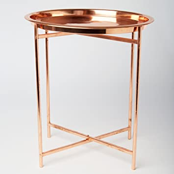 Folding Coffee Table With Round Tray Copper