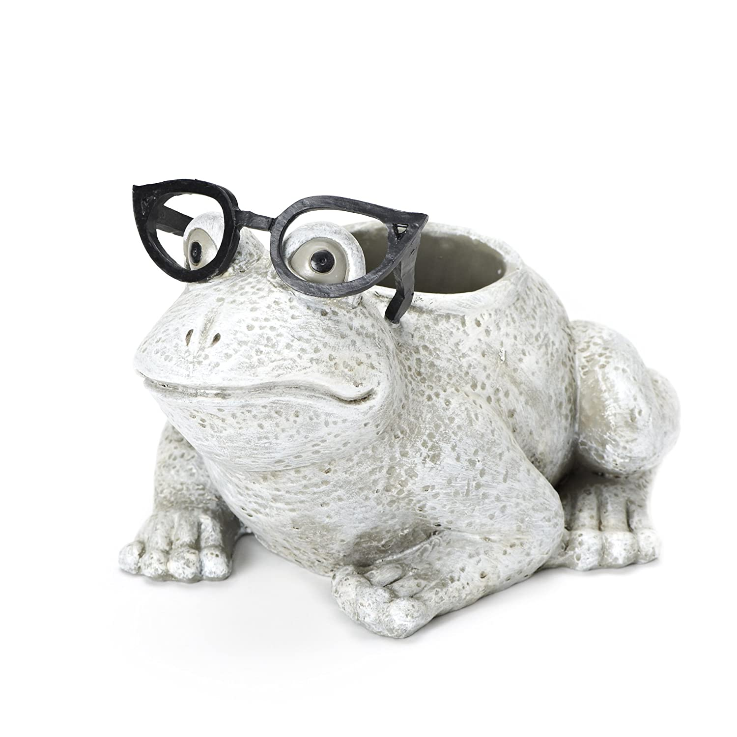 Roman Exclusive White Frog Wearing Silly Black Spectacles Planter, 6-Inch, Made of Dolomite Resin