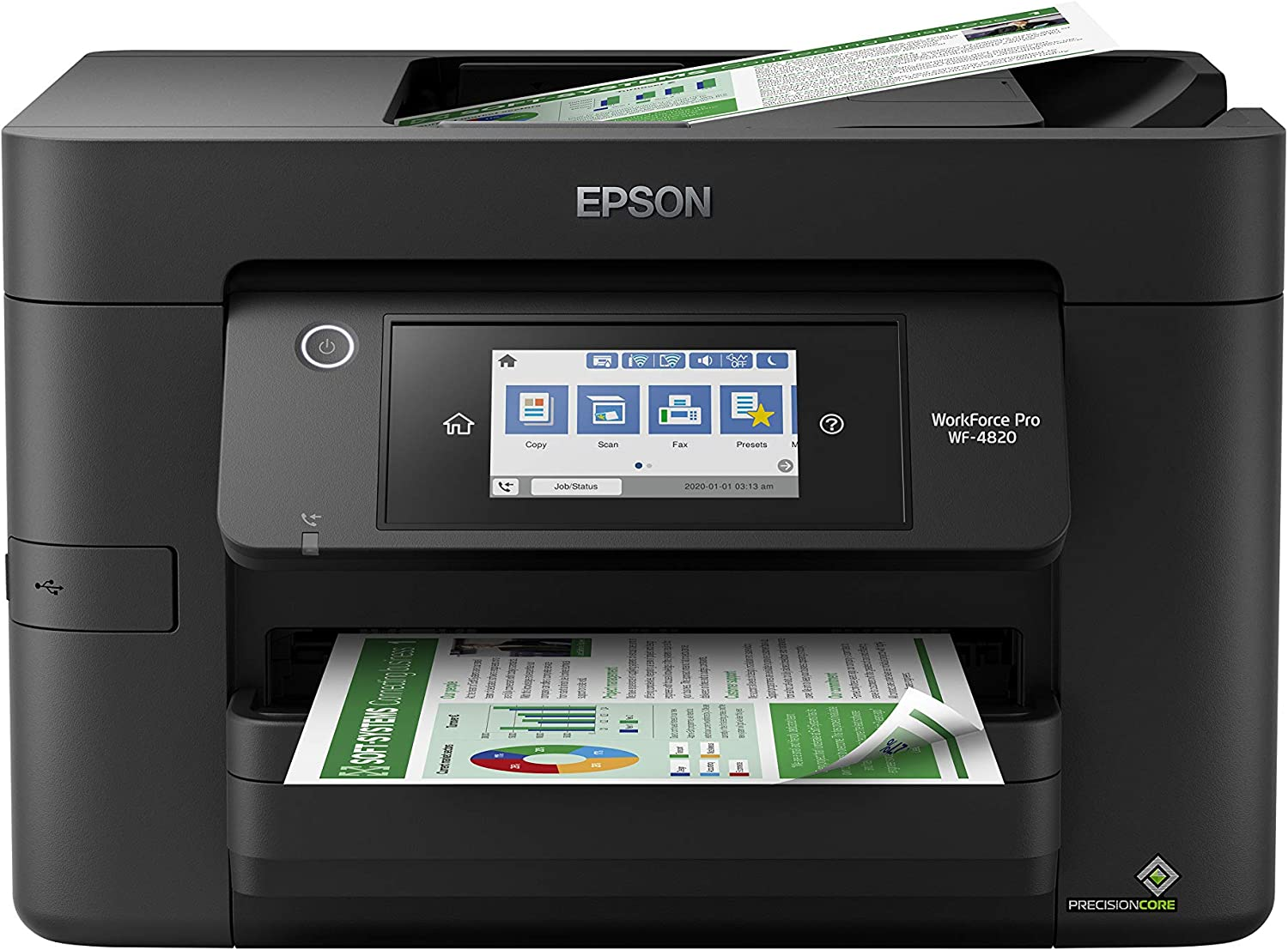 "Epson Workforce Pro WF-4820 Wireless All-in-One Printer with Auto 2-Sided Printing, 35-Page ADF, 250-sheet Paper Tray and 4.3"" Color Touchscreen, Works with Alexa, Black, Large"