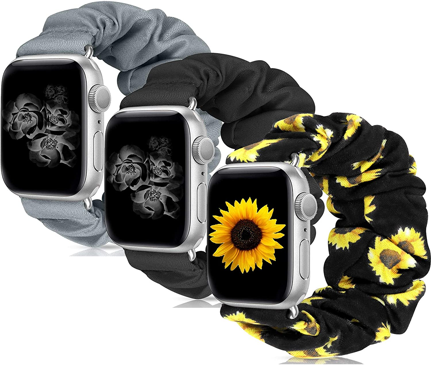 Scrunchie Watch Band Compatible with Apple Watch Band 38mm 40mm 42mm 44mm Apple Watch Series 5 Band Soft Replacement Elastic Wristband Compatible for iWatch Series 5 4 3 2 1 (R 3 Pack 42mm 44mm S)