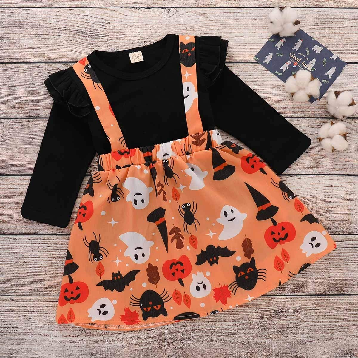 Long Sleeve T-Shirt Ruched Halloween Outfits Set VEKDONE Toddler Baby Girls Strap Skirt