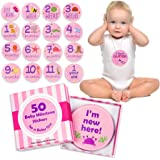 Baby Monthly Milestone Stickers for Girls | 50 Pack | Cute Keepsake Box | Pink or Blue | Week, Month, Holiday, Funny…