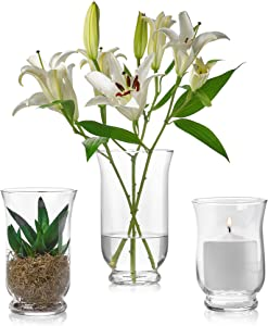 Set of 3 Glass Hurricane Vases 6, 8, 10-Inch-Tall – Multi-use: Pillar Candle Holder, Flower Vase – Perfect as a Wedding Centerpieces, Home Decoration