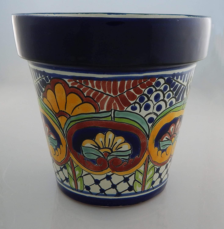 Mexican Talavera Planter Ceramic Flower Pot Folk Art Pottery Garden Handmade # 17