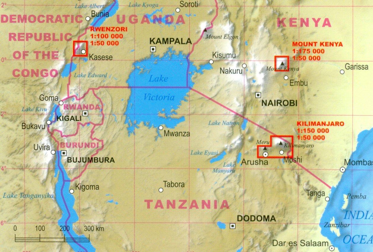 Afrikas Hochsten Gipfel Trekking Karte Kilimandscharo Mount Kenya Ruwenzori Karte Laminiert Amazon De Terraquest Editions Bucher
