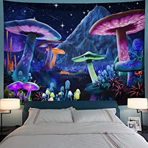 Bowavat Wall Tapestry ,Psychedelic Mushroom Tapestry Trippy Wall Hanging Tapestry Fantasy Plant Tapestry Starry Sky Tapestry for Bedroom Living Room Decor (H29.5