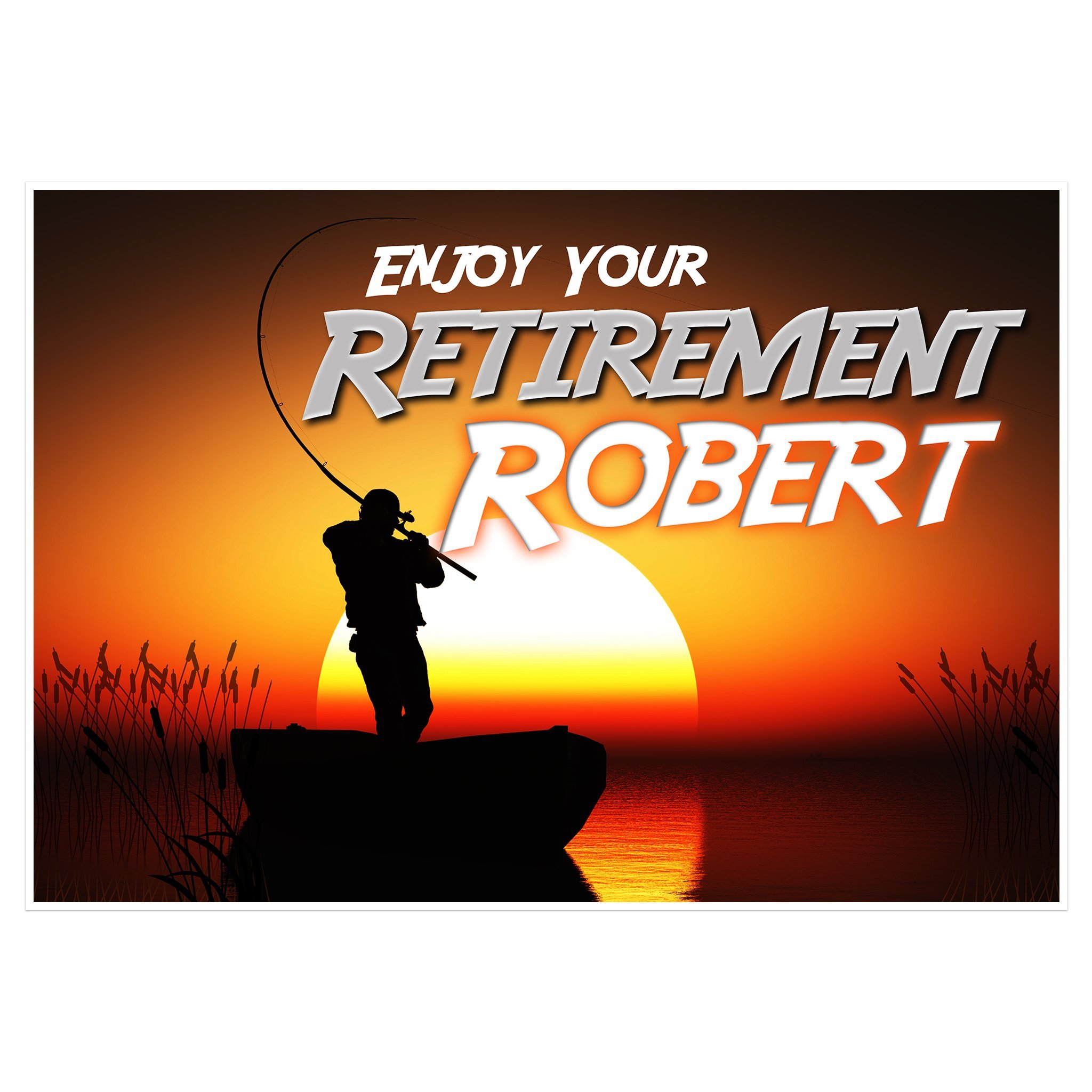 Enjoy Fishing Retirement Banner Personalized Party Backdrop