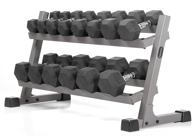 XMark 2-Tier Dumbbell Rack and Optional Hex Dumbbell Set