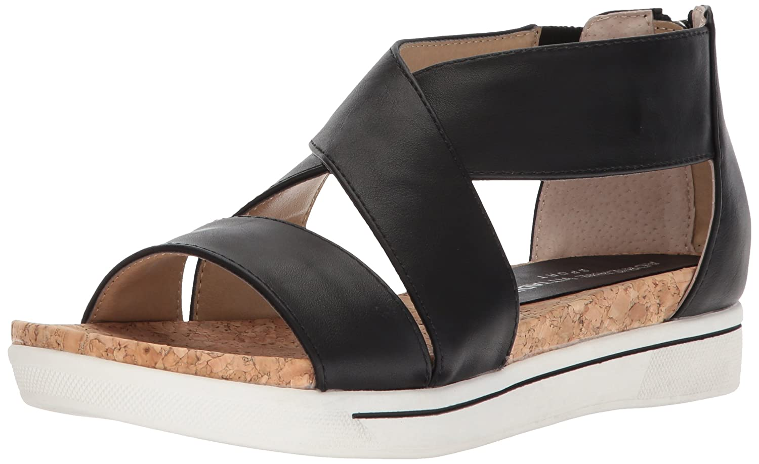 ADRIENNE VITTADINI Footwear Women's Claud Sandal B01MU0LO7K 6 B(M) US|Smooth Black
