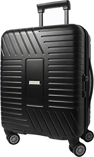 EXZACT Cabin Luggage Carry-On 20 Black, Hard Shell Side 4 Wheels 360 Spinner TSA Lock, 100 PolyCarbon Travel Premium, Onboard Suitcase Black EX180501