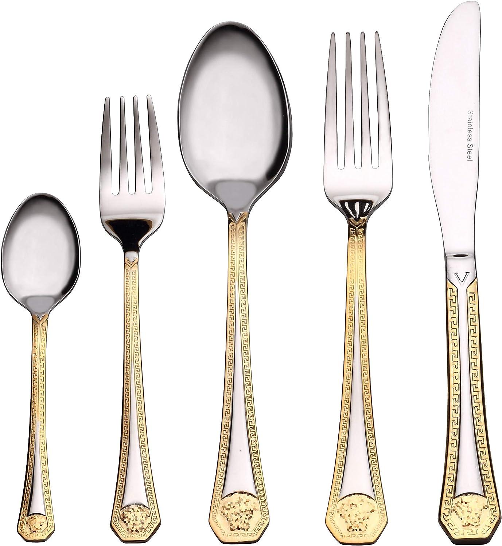 "Venezia Collection ""Greek"" 20-Pc. Gold Flatware Set Service for 4, Premium 18/10 Stainless Steel Silverware Cutlery, 24 Karat Gold-plated Trim"