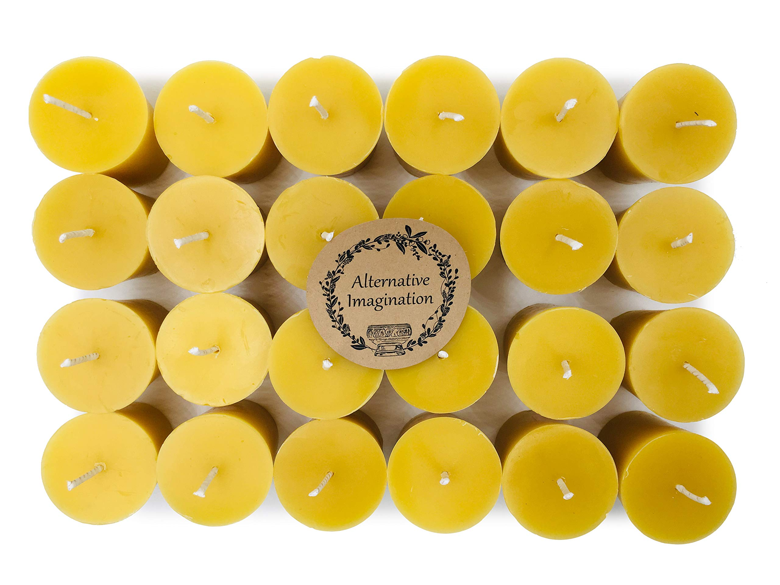 Alternative Imagination Premium 100% Pure, Natural Beeswax Votive Candles - Pack of 24