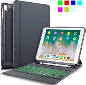 """IVSO New iPad 9.7"""" 2018/2017 Keyboard Case With Stylus Holder, Case with Keyboard(QWERTY Layout), 7 LED Backlit Colors 3 Levels Brightness Control DETACHABLE Bluetooth Keyboard Case with Automatic Sleep/Wake for Apple New iPad 9.7 2018/2017/iPad Pro 9.7/iPad AIR 2/iPad AIR 9.7 inch Tablet, Gray"""