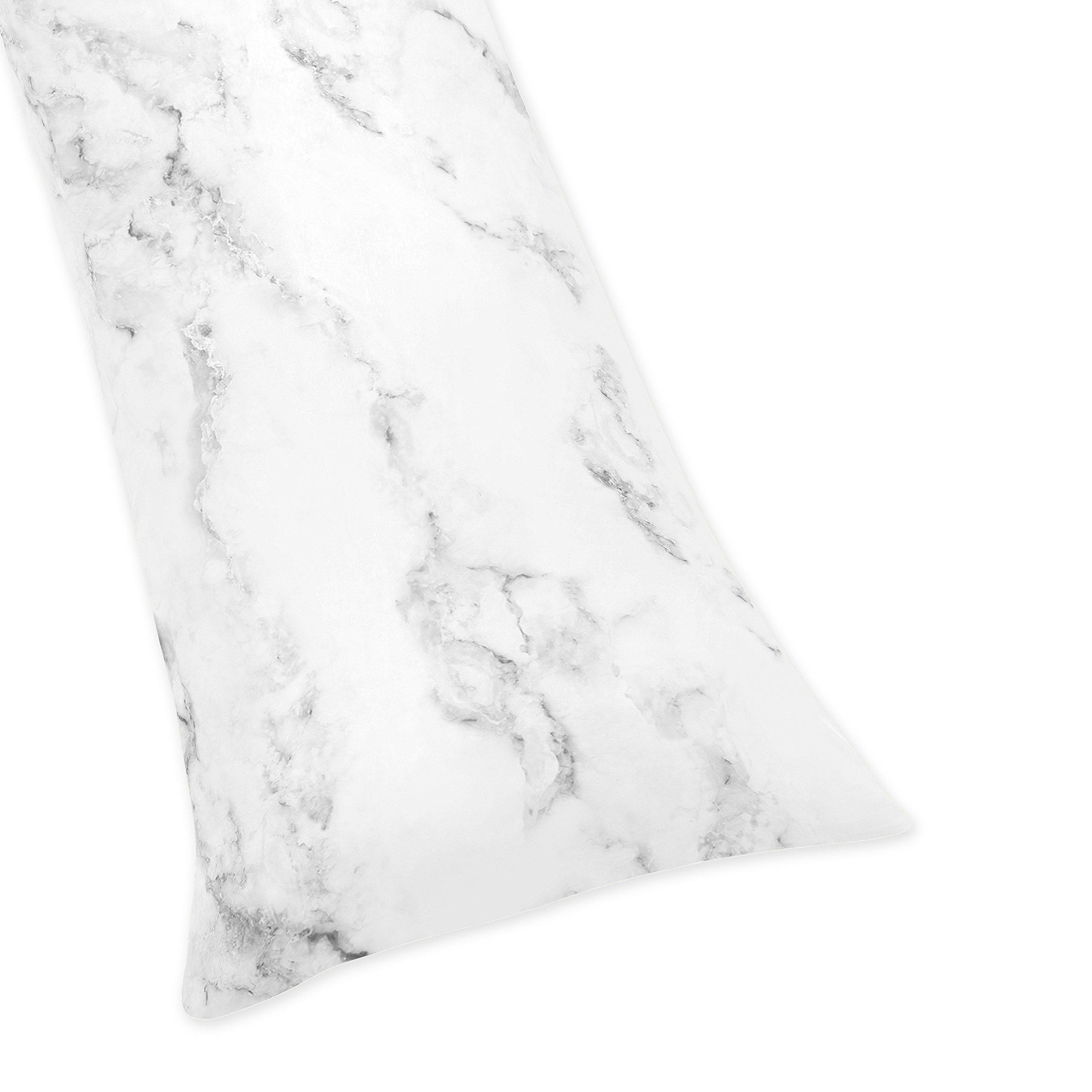 Sweet JoJo Designs Modern Grey, Black and White Marble Print Full Length Double Zippered Body Pillow Case Cover