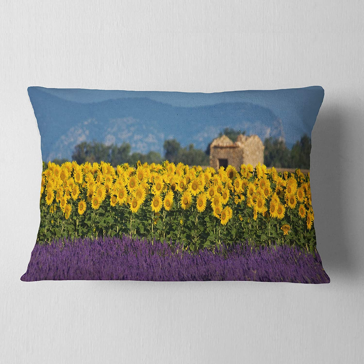 Designart CU13085-12-20 Lavender and Sunflower in Provence' Floral Lumbar Cushion Cover for Living Room, Sofa Throw Pillow, 12 in. x 20 in. in