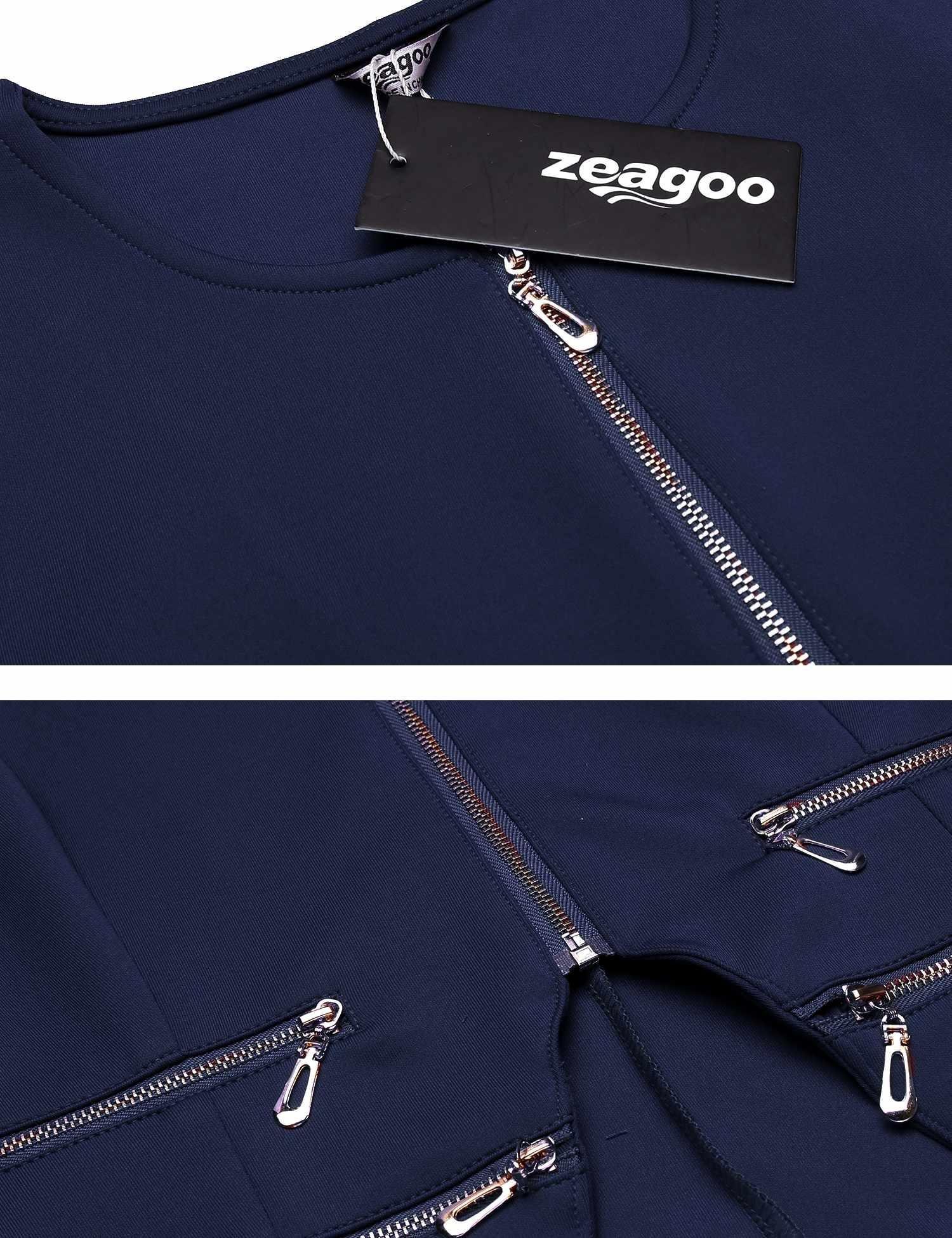 Zeagoo Women's Casual Zipper Cardigan Blazer O Neck Slim Fitted Office Jacket (L, Navy Blue) by Zeagoo (Image #6)