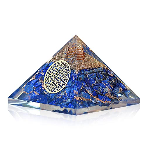 Lapis Lazuli Orgone Pyramid with Charge Crystal Point and Flower of Life Symbol Quartz Crystal Positive Energy Generator Provides EMF Protection and Positive Energy