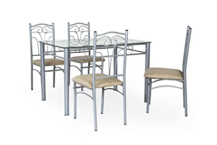 FurnitureKraft San Diego Four Seater Metal Dinning Table With Glass Top