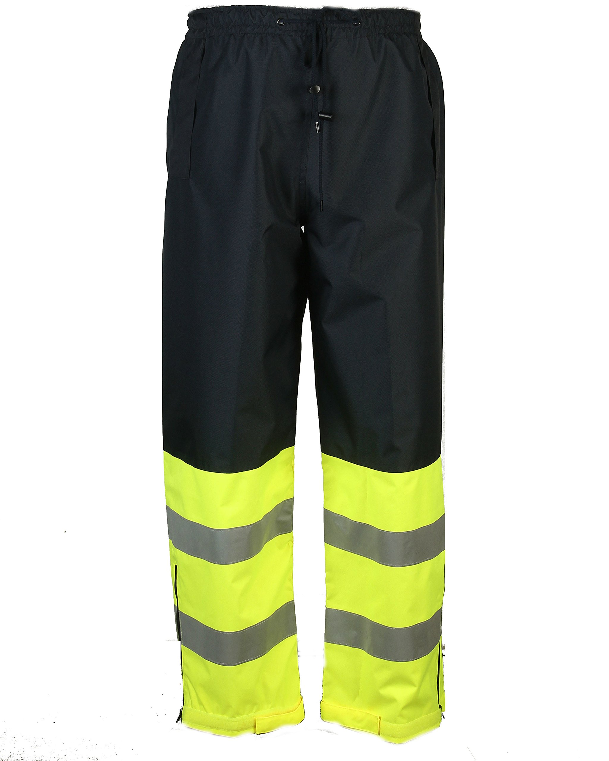 Safety Depot Two Tone Lime Yellow Black Reflective Class E Safety Draw String Pants Water Resistant High Visibility and Light Weight 737c-3 (2XL)