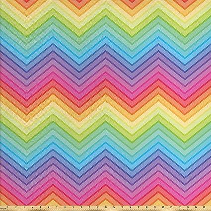 Modern Printed Velvet Rainbow Geometric Chevron Upholstery Furnishing Fabric