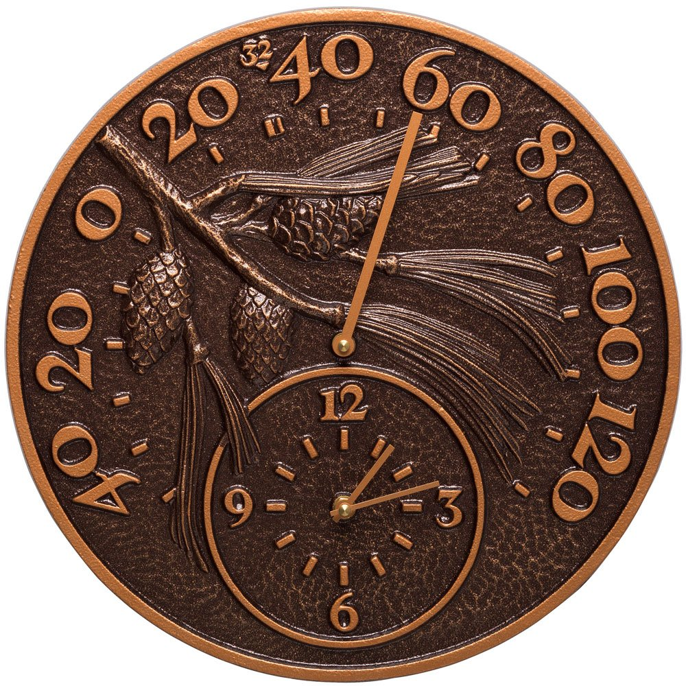SKB family Outdoor Thermometer and Clock - Pinecone, 14'' x 14'' x 1.25'' x 8 lbs, Antique Copper